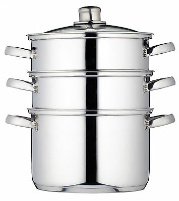 KitchenCraft Induction Safe Stainless Steel 3 Tier Food Steamer Pan Stock Pots