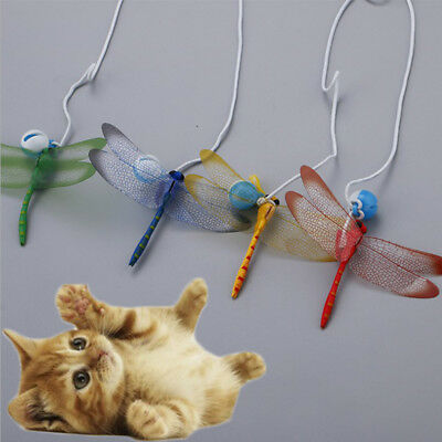 Dragonfly Teaser Pet Cat Kitten Interactive Toy Wand Fun Funny Play Exercise