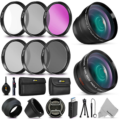 58mm Wide/Telephoto Lenses + Filters f/ Canon EOS 5D Mark III