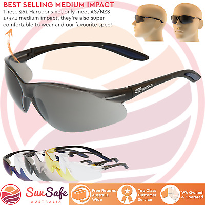 Harpoon 261 Safety Glasses Anti Fog Option Hard Coat Medium Impact AS/NZS1337.1