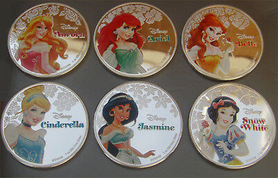 Disney Princesses Silver Plated 2015 Collectors Coins in Capsules