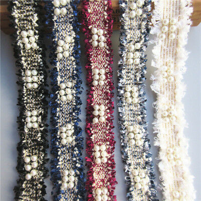 1 yard Pearl Embroidered Lace Edge Trim Ribbon Wedding Applique DIY Sewing Craft