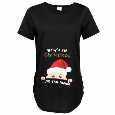 Baby's 1st Christmas On The Inside New Fashion Style Women T-Shirt Maternity Top