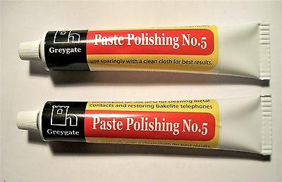 GREYGATE BAKELITE POLISH,2x60gm,PASTE POLISHING no5, PHONES RADIOS, ALL BAKELITE
