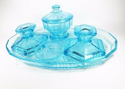 Vintage Art Deco turquoise dressing table set glass candlestick ashtray trinket