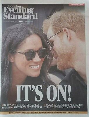 2 x UK EVENING STANDARD - 27/11/2017❤MEGHAN MARKLE AND PRINCE HARRY ENGAGED❤