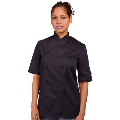 Quality Unisex Short Sleeve Stud Button Chef Jacket - Black (END OF STOCK ITEM)