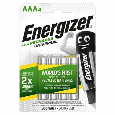 4 x Energizer AAA batteries Rechargeable Universal 500mAh Accu NiMH HR03 4 Pack