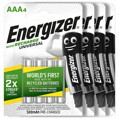 16 x Energizer AAA batteries Rechargeable Universal 500mAh Accu NiMH HR03 4 Pack