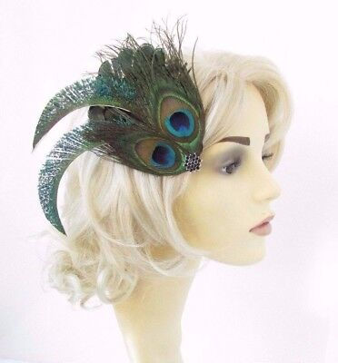 Dark Green Black Peacock Feather Fascinator Hair Clip Races Cocktail 1920s 4636