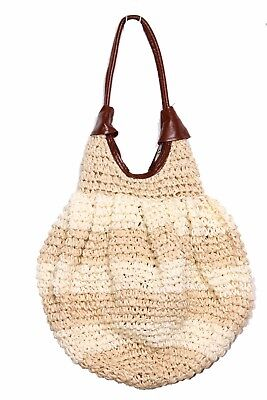 59e02c88a3d Shades Of Cream Straw Beach Bag W synthetic Brown Leather Handles (S260)