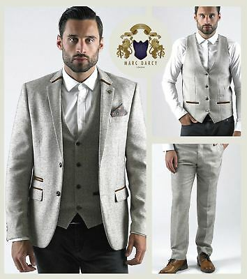 Mens Marc Darcy Designer Cream Herringbone Tweed Blazer Waistcoat Trousers