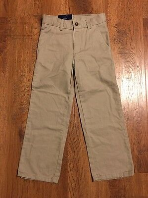 """Boy's CHAPS """"Approved Schoolwear"""" Flat Front Khaki Pants Size 5 Regular NWT"""