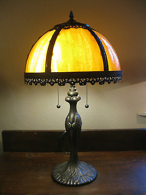Awesome Vintage Antique Arts & Crafts Table Lamp Orangy Peach Slag Glass Shades