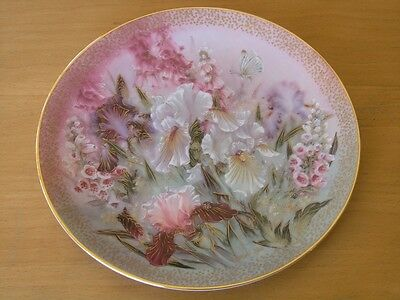 Iris Quartet Collector Plate by Lena Liu 1991 Symphony of Shimmering Beauty Ser.
