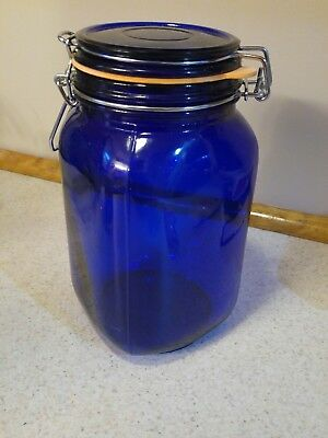 Vintage Cobalt Blue Glass Wire Bail Large Apothecary Canister