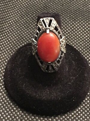 Antique Gorgeous Large Oval Carnelian & Marcasite Sterling Silver Cocktail Ring