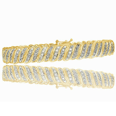 1ct TDW Diamond 18K Yellow Gold Over S Tennis Bracelet