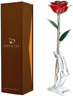 Red Gold Rose 24K Gold Trimmed Long Stem Real Rose With Moon-shape Rose Stand