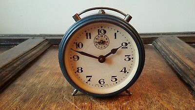 1940's Vintage French Drum Alarm Clock - Blue - Good Working Order