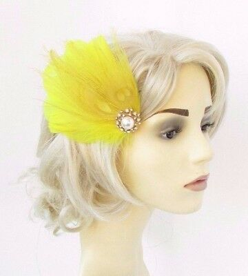 Yellow Silver Gold Feather Fascinator Hair Clip Races Wedding 1920s Vintage 4651