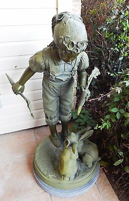 "Jim Davidson 40"" Huge Life Size Bronze Sculpture Girl w/ Bunnies Statue, Signed"