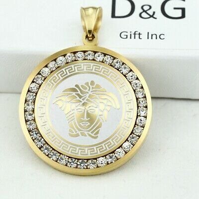 DG*Unisex Silver Stainless Steel,CZ Egyptian Eye 35mm Circle Charm Pendant.Box