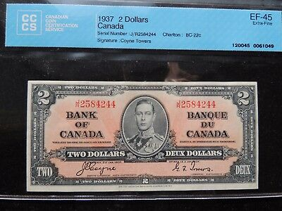 1937 BANK OF CANADA $2 TWO DOLLARS COYNE TOWERS J/R 2584244 BC-24b CCCS EF-45