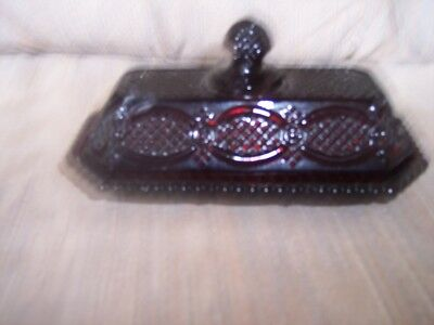 VINTAGE---AVON---CAPE COD---Ruby Red Glass---BUTTER DISH WITH LID---In Box
