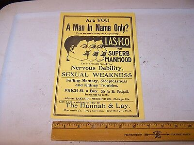Reproduction Quack Medicine Sign SEXUAL WEAKNESS Hanna & Lay SUPERB MANHOOD