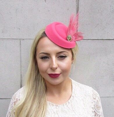 Cerise Hot Pink Gold Feather Pillbox Hat Fascinator Races Hair Clip Vintage 4656