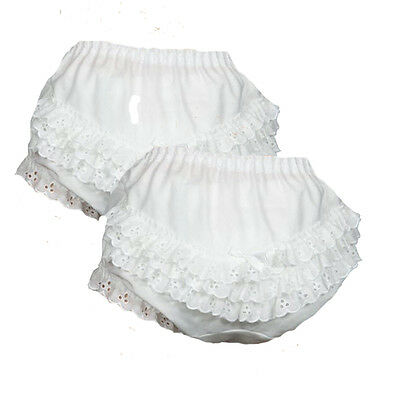 Girls White Eyelet Ruffled Panties Cotton 2 Pack NWT Sizes 1 2 3 4 5 6 by ICM