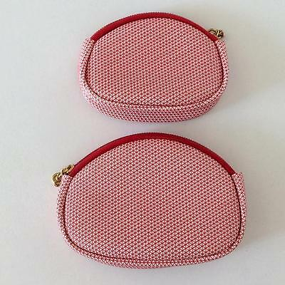 NOS NWOT 2 Vintage Retro Red & White Plastic Coin Purses Made Hong Kong Nesting