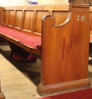 Victorian Pitch Pine Pew, 3 metres long with single bookshelf on the rear face.