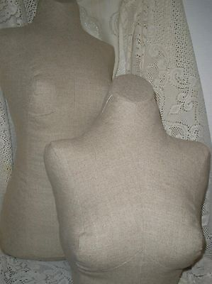 Boutique dress form and bust craft booth displays French decor Sand linen