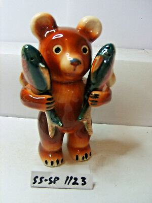 bear with fish salt  and pepper shakers