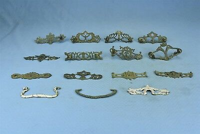 Antique MIXED LOT of 13 BRASS BACKPLATES EYE BOLTS DRAWER HARDWARE PARTS #04124