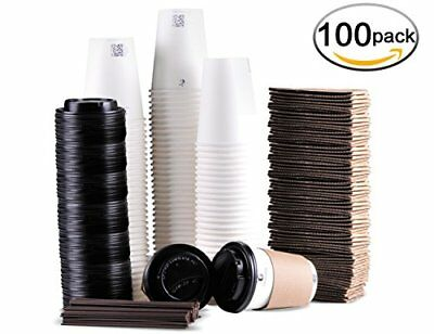 Disposable Coffee Cups To Go with Travel Lids Sleeves Straws 100 Sets of 12 oz