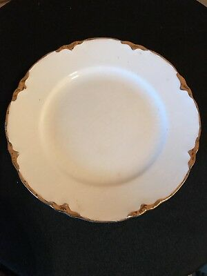 """Vintage 1930 Homer Laughlin 6"""" Bread Plates, White and Gold Rim"""