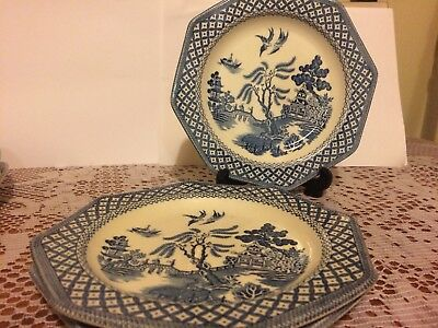 J & G Meakin Royal  Staffordshire : Willow Octagonal Blue. 3x Bread Side Plates