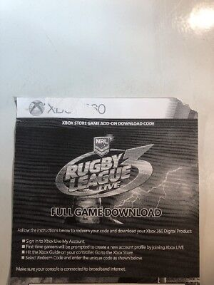 Rugby League Live 3 Xbox Live Game Download Code Card Xbox 360