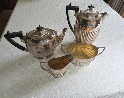 Rare James Dixon & Sons 1800s Coffee Tea Set Silver Plated 4 Piece Sheffield VTG