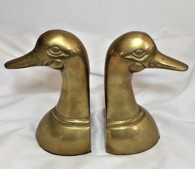 "Vintage Solid Polished Brass Leonard Duck Head Bookends 6"" Tall-CUTE!!!"