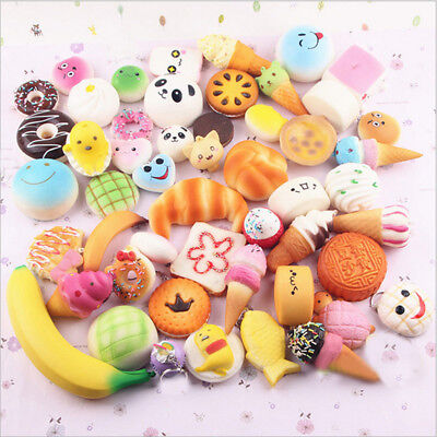 10/20/30pcs Squishy Charms Soft Foods Squishies Cake Phone Straps Charm Toy AU