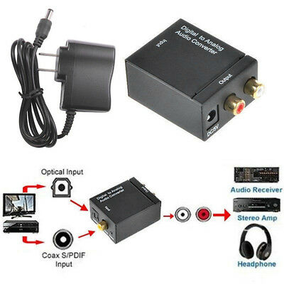 Optical Coaxial Toslink Digital Signal to Analog Converter Audio Adapter RCA L/R