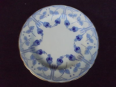 Vintage Royal Doulton Fuschia Plate Blue on White With Gold Trim Made in England