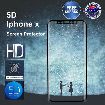 5D Full Cover Tempered Glass Screen Protector For Apple iPhone X Screen Only