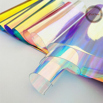 "37"" Clear Holographic Iridescent PVC Fabric Mirrored Film Vinyl Crafts Bows Bag"