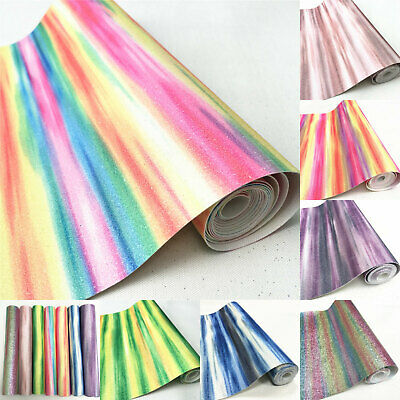 Glitter Rainbow Stripe Fine Fabric Sheet Material Leather Bow Craft Decor Sequin