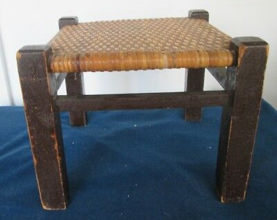 Vintage Wood and Thatched Cane Caned Small Foot Stool Footstool